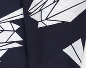 Japanese cotton fabric for yukata - Blue and white origami crane