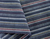 Japanese striped cotton fabric - light and dark blue, gold and red