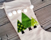 Little green tree Christmas stocking