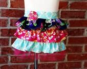 Midnight Bouquet---Child size ruffle half apron