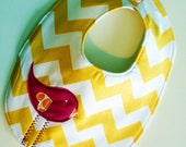 Yellow chevron baby bib with hot pink birdie