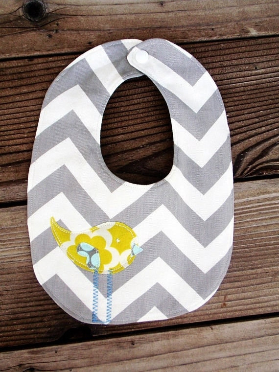 Grey with citron chevron stripe baby boy bib