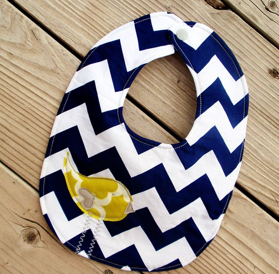 Navy chevron baby bib with citron birdie