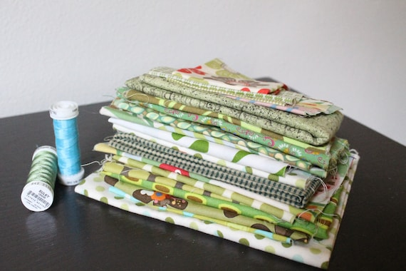 SALE - Designer Quilting Fabric Scrap Bundle - Greens with Flowers, Birds, and Dots