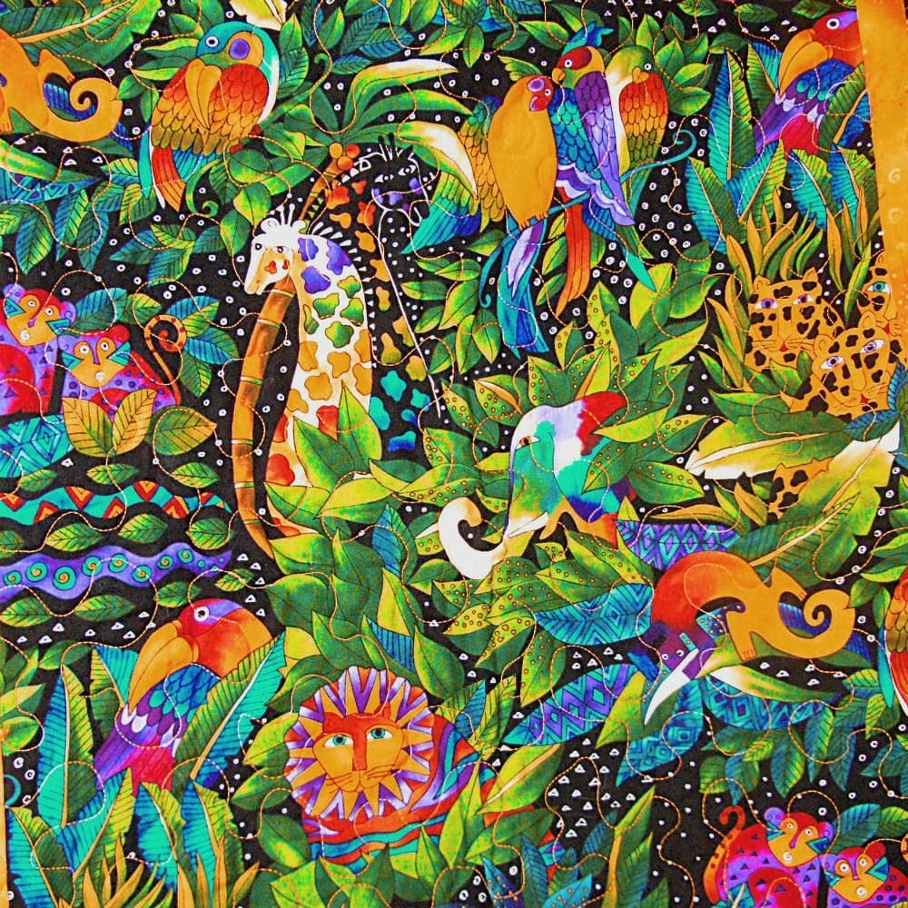Lap Or Wall Quilt Made From Laurel Burch Jungle Song Designer