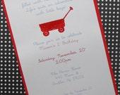 Little red wagon invite/baby shower