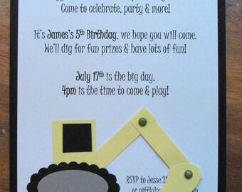 Digger birthday invite