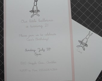 Bunny ballerina invitation set