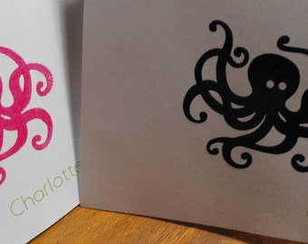 Personalized octopus notecards - boy or girl