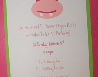 Hippo birthday invite set