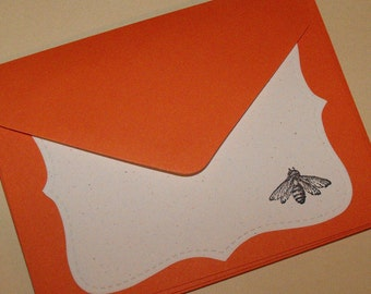 Embossed bee orange noteset