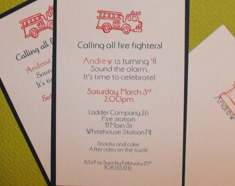 Firefighter birthday party invite