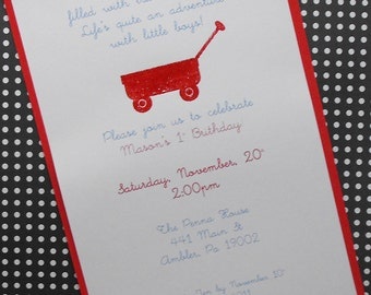 Little red wagon invite/baby shower