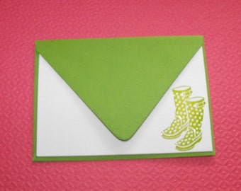 Rain boot notecard set in green