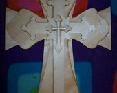 Unfinished wood layered STACK CROSSES KIT style 51 - 15''
