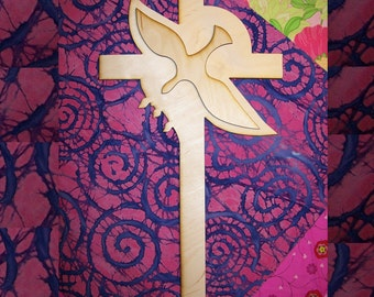 Unfinished Wood Cross Dove Inside style   - 15''