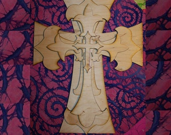 Unfinished wood layered stack crosses kit style MAY06 - 15''
