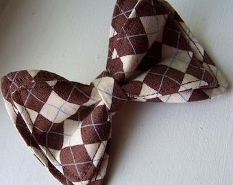 Boys Bow Tie - Argyle in Brown Bow Tie - Bow Tie - Bow Ties Toddler - Newborn Bow Tie -Bowtie - Diamond Bow Tie - Brown Bow Tie
