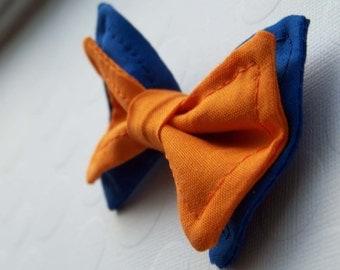 Boys Bow Tie- Blue and Orange Bow Tie - Bow Ties Toddler - Newborn Bow Tie - Bowtie - College Bow Tie - Team Colors Bow Tie - Football Tie