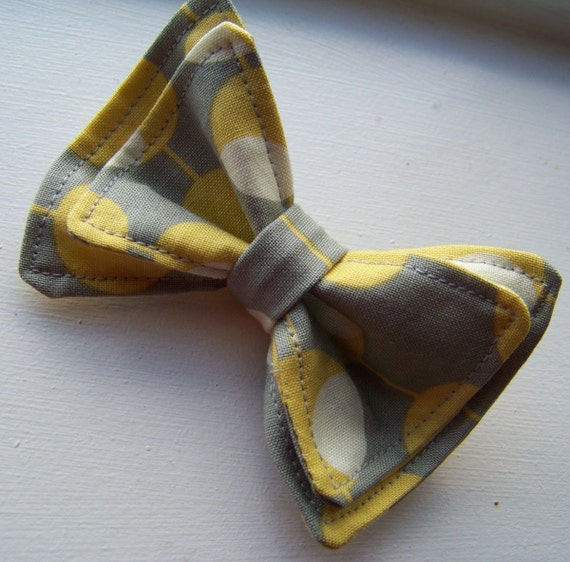 Boys Bow Tie - The Martini Bow Tie - Bow Ties Toddler - Newborn Bow Tie - Yellow Bow Tie - Grey Bow Tie - Gray Bow Tie - Spotted Bow Tie