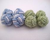 2 pairs knot cufflinks - light blue and mint green