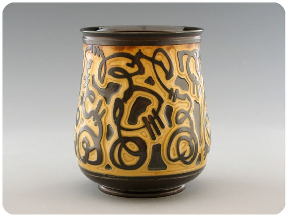 Etched Porcelain Tea Cup Tumbler With Black Interior