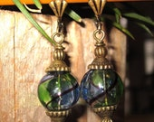 Dainty Stunning Blue and Green Hand Blown Glass Earrings