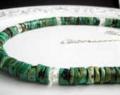 Turquoise Silver Quartz Crystal  Necklace  Jewelry