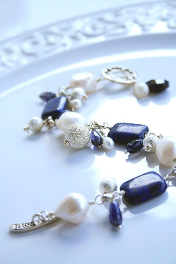 Lapis Lazuli Freshwater Pearls Iolite Sterling Silver Bracelet