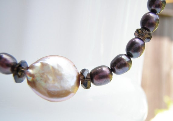 Coin Pearl Brown Purple Freshwater Pearls SmokeyQuartz SterlingSilver