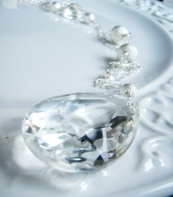 Chandelier Crystal Sterling Sliver Beads Clear Crystals Necklace