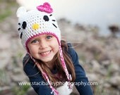 12m-3Tm Kitty hat in White and Cosmo
