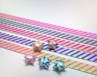 70 Origami Lucky Star Paper - Candy Strips - Red Blue Orange Pink Green