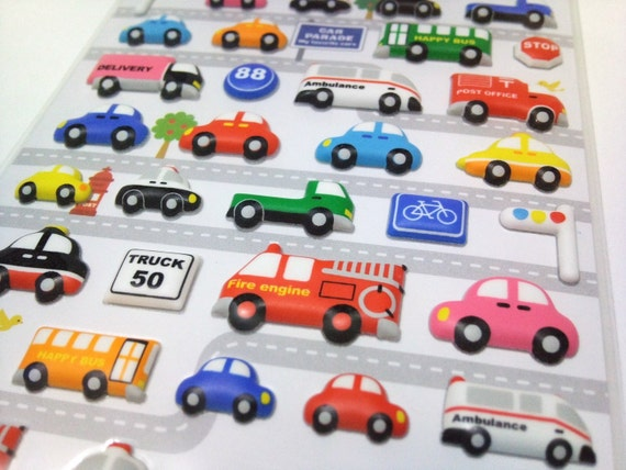 Cute Puffy Stickers - Happy Day On The Road - Kawaii Transports & Vehicles from Mind Wave Inc
