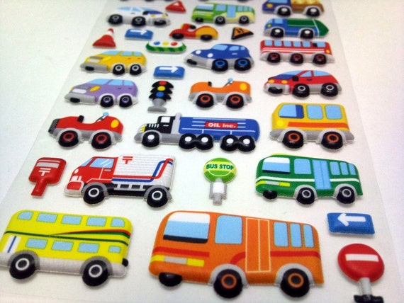 Cute Japanese Puffy Stickers - Busy Day on a Road - Cars, Buses Lorries, Trucks, Bikes, Road Signs and more - from Mind Wave Inc
