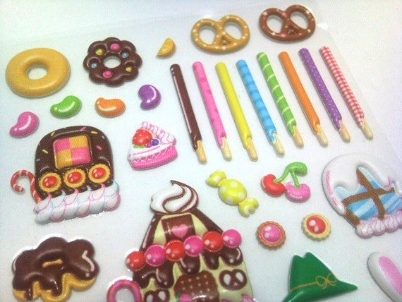 Cute Kawaii Japanese Puffy Stickers- Colorful Yummy Sweets, Cakes, Cookies and Desserts - from Mind Wave Inc