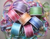 Pastel Rainbow Mix - 14 metres of 7mm silk ribbon