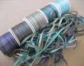 Ocean mix - 10 metres of 3.5mm silk ribbon