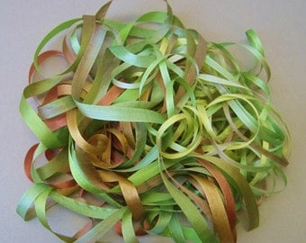Leaf and twig mix - 12 metres of 7mm and 3.5mm silk ribbon