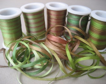 Sherwood Forest Mix - 15 metres of 2mm variegated silk ribbon