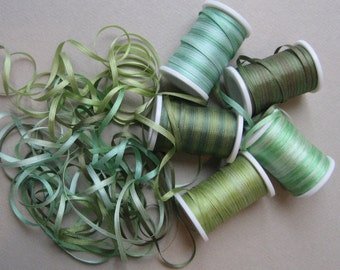 Daintree Rainforest mix - 15 metres of 2mm variegated silk ribbon