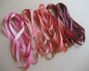 Pink and Plum mix - 10 metres of 7mm silk ribbon