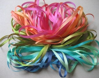 Rainbow mix - 14 metres of 3.5mm silk ribbon