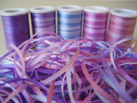 Berry mix - 15 metres of 2mm variegated silk ribbon