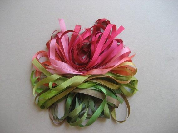 Rose Garden mix - 10 metres of 7mm silk ribbon