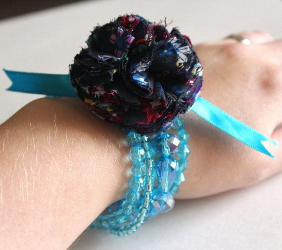 Fabric flower corsage bracelet crystal beaded