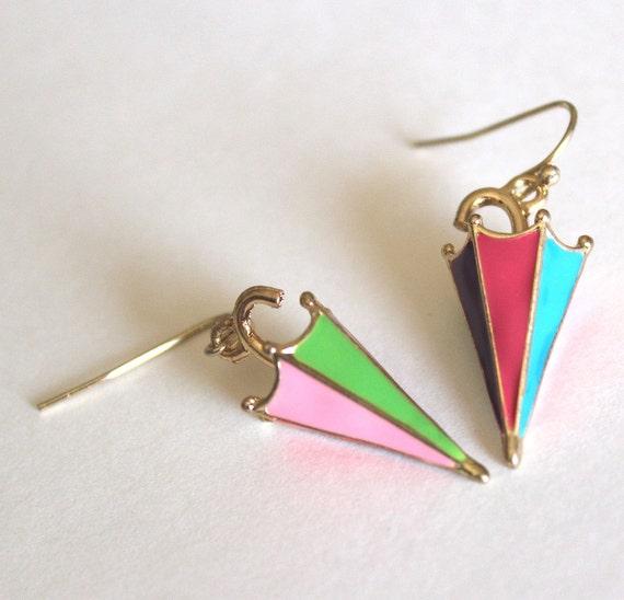 Umbrellas parasols colorful enamel and golden earrings