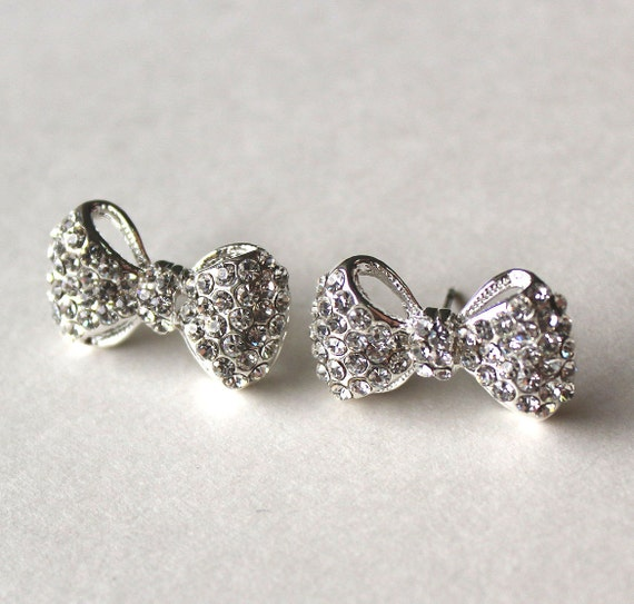 Crystal bow silver post earrings