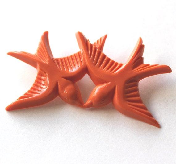 Brooch resin Tangerine orange kissing birds