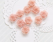 10 Pcs Sweet Pink Cabochon Flowers - Resin Rose 18mm